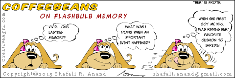 dog and pup cartoons on training and cognitive psychology - coffee beans on flashbulb memory.